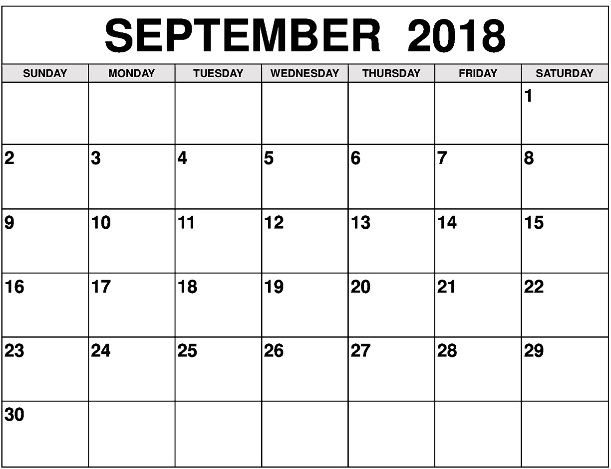 2018 September Calendar Academic Template