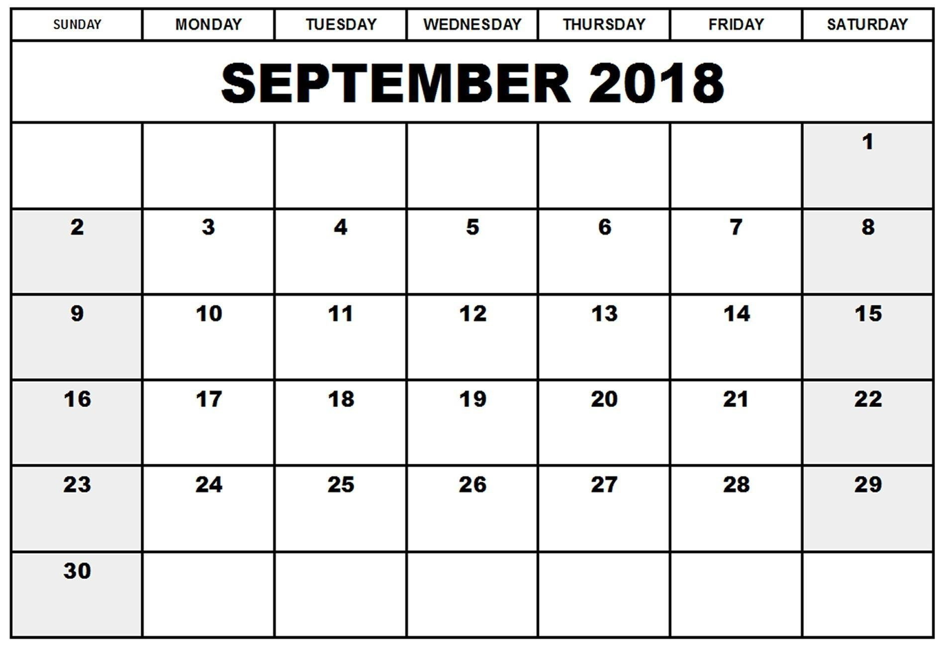 2018 September Calendar Google Document