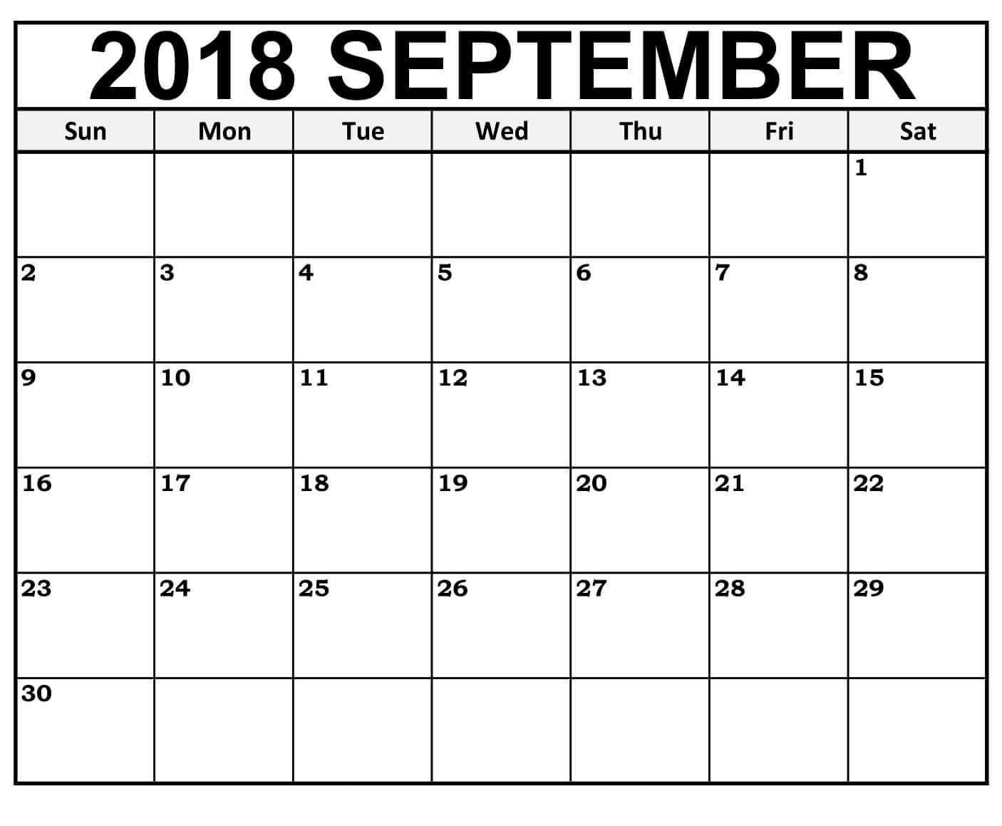 2018 September Calendar Harper Academic