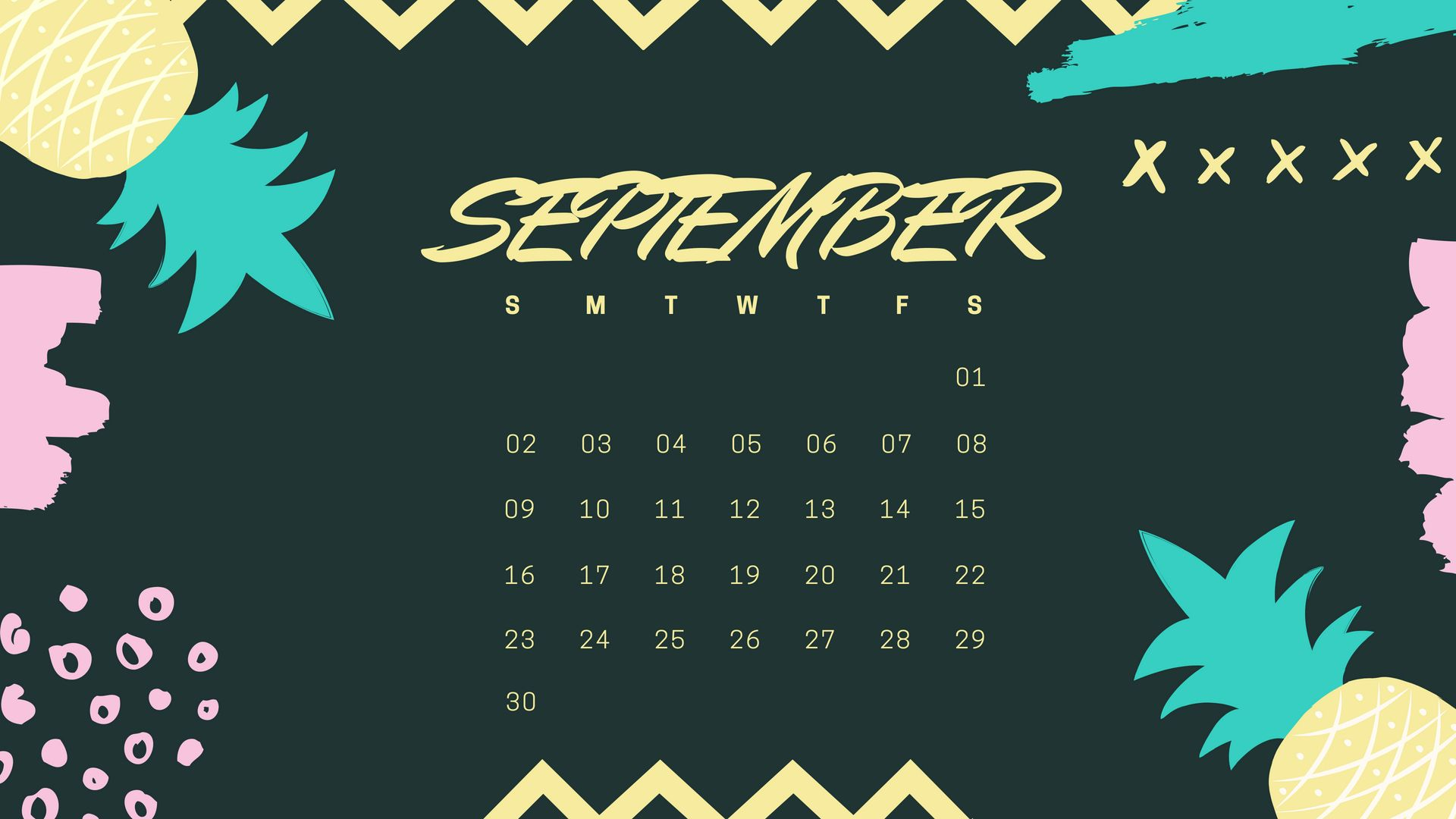 Amazing September 2018 Desktop Calendar