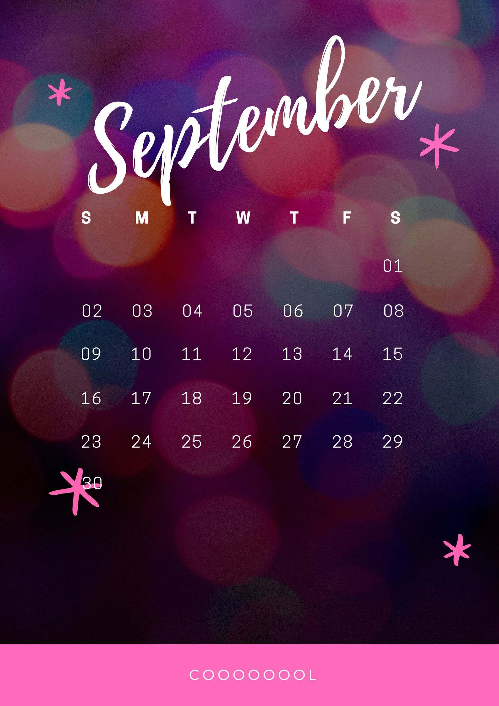 Amazing September 2018 iPhone Calendar
