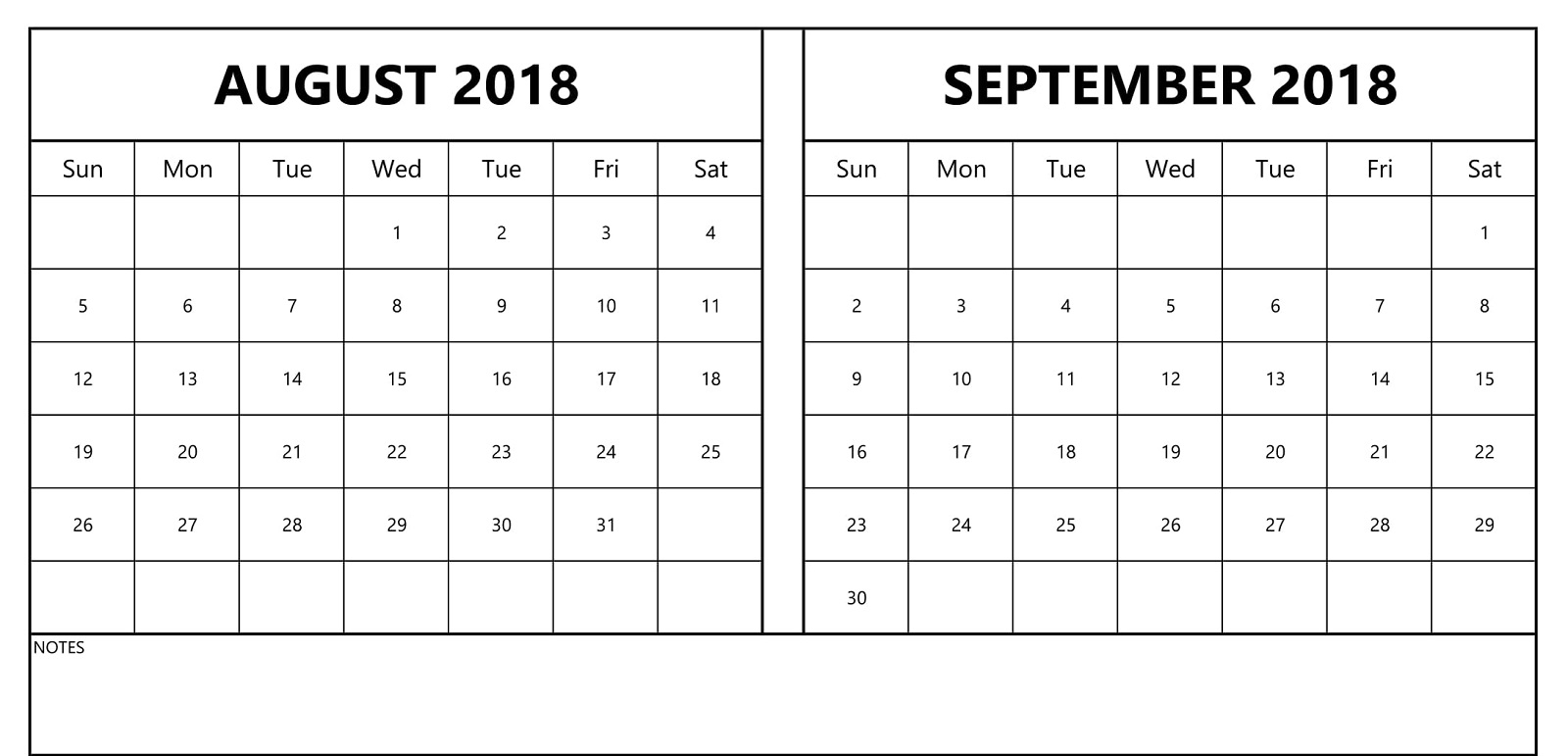 September 2018 Calendars With Space For Notes