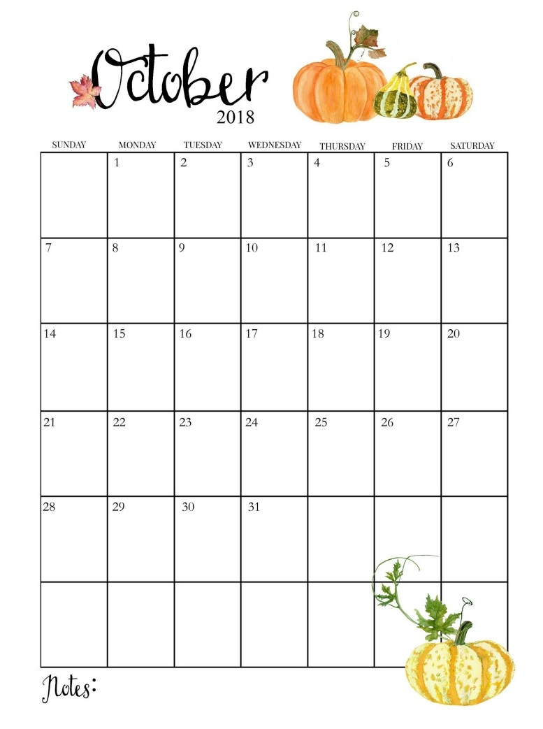 Beautiful October 2018 Design Calendar