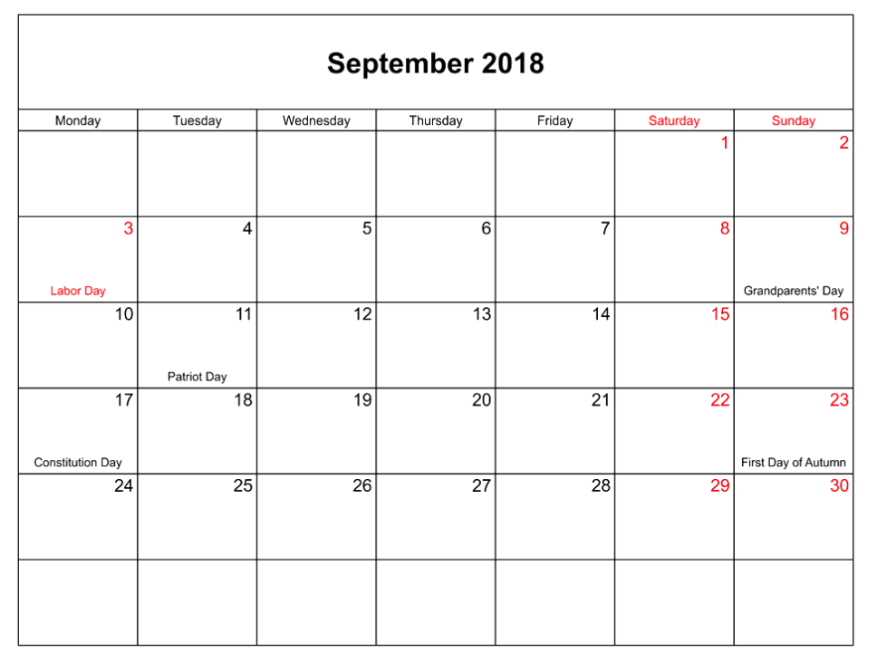 Blank Calendar September 2018 School Time Table
