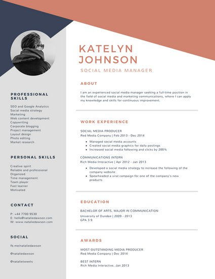 Blue And Brick Red Geometric Modern Resume Templates By Canva Template