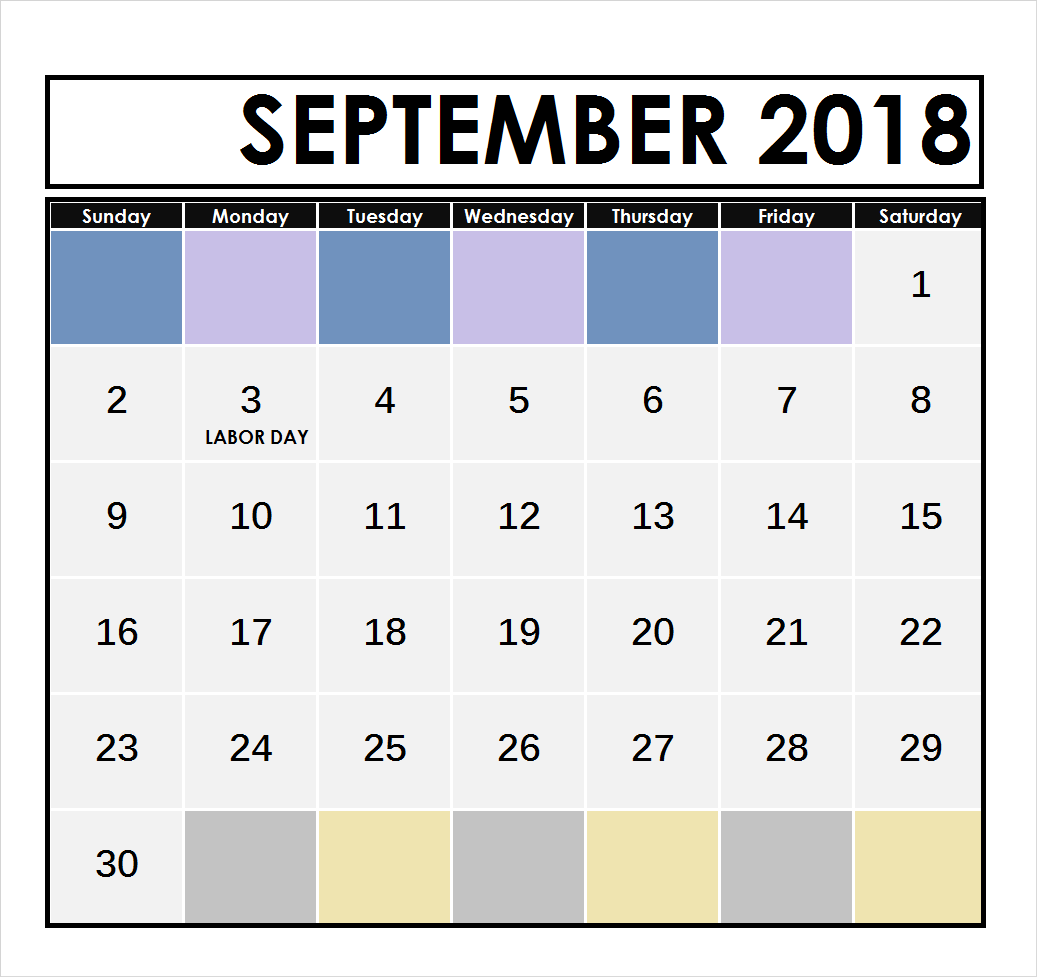 Calendar 2018 September Letter and Tracing Sheets