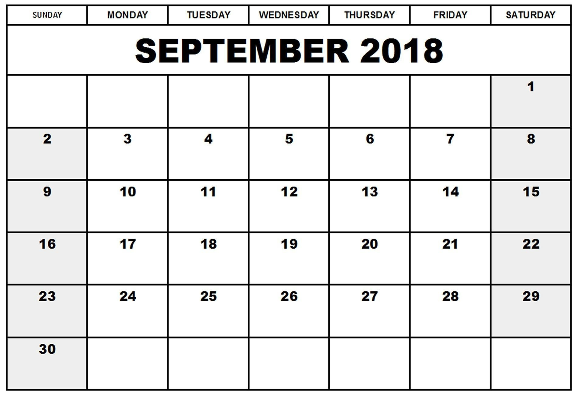 Calendar September 2018 Blank Editable Template