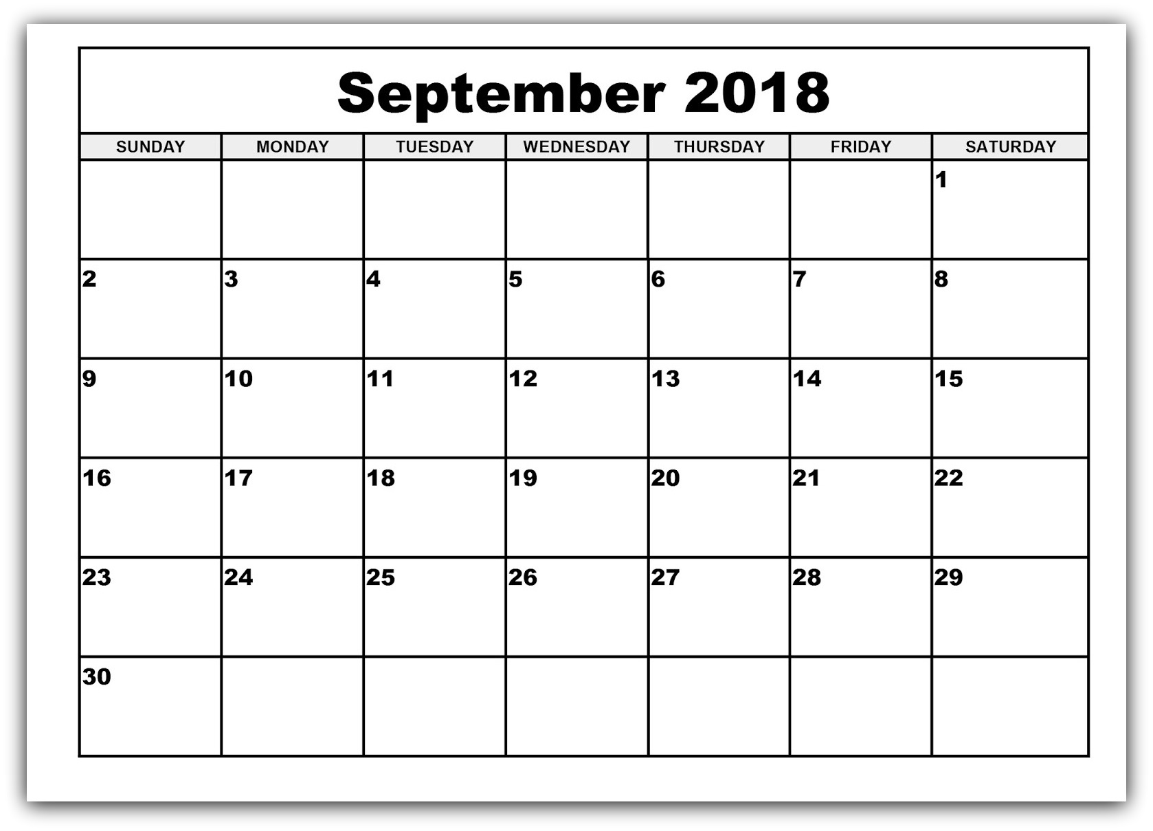 Calendar September 2018 Printable Bank Holidays