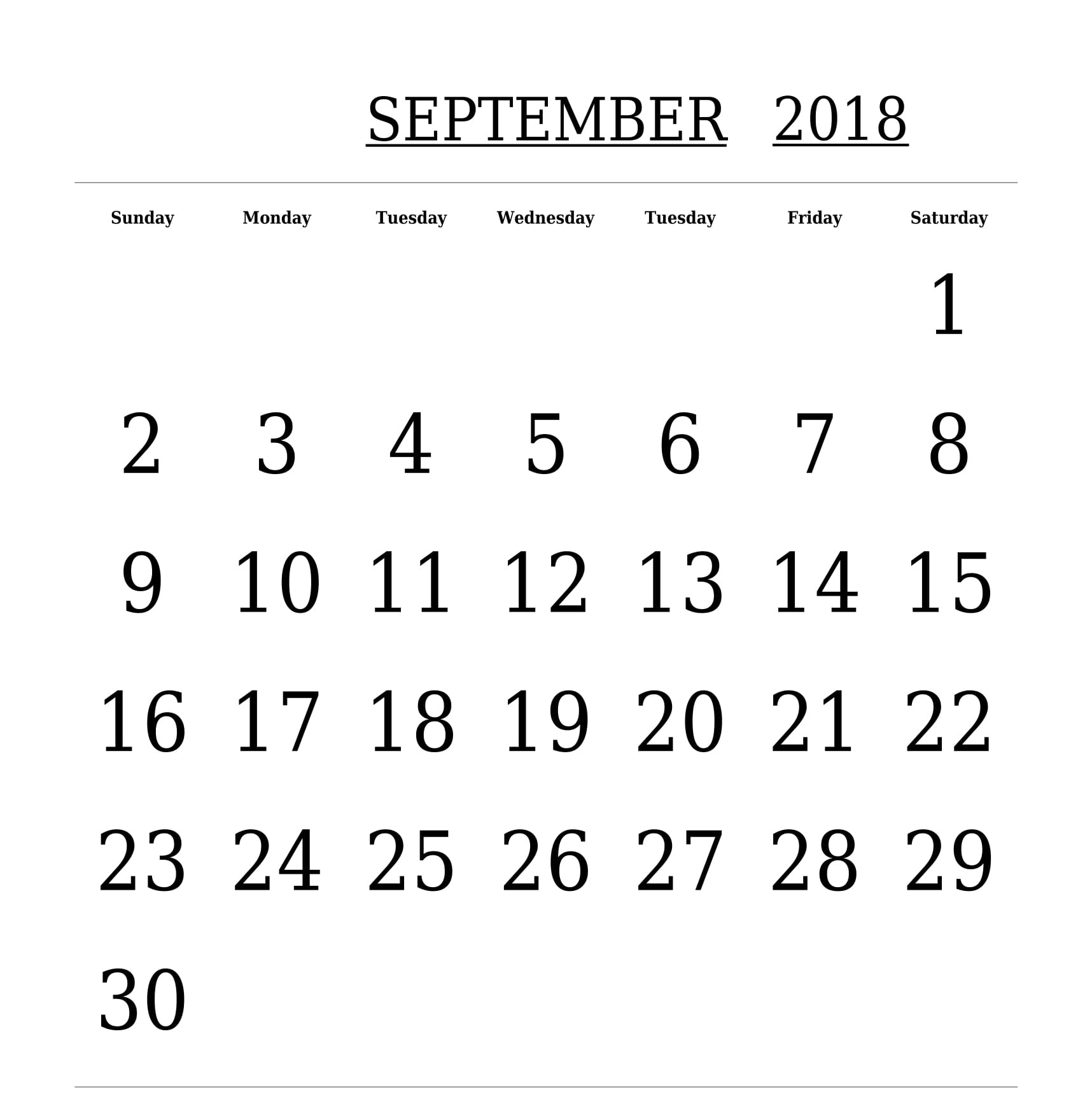 Calendar September 2018 Printable Blank Template