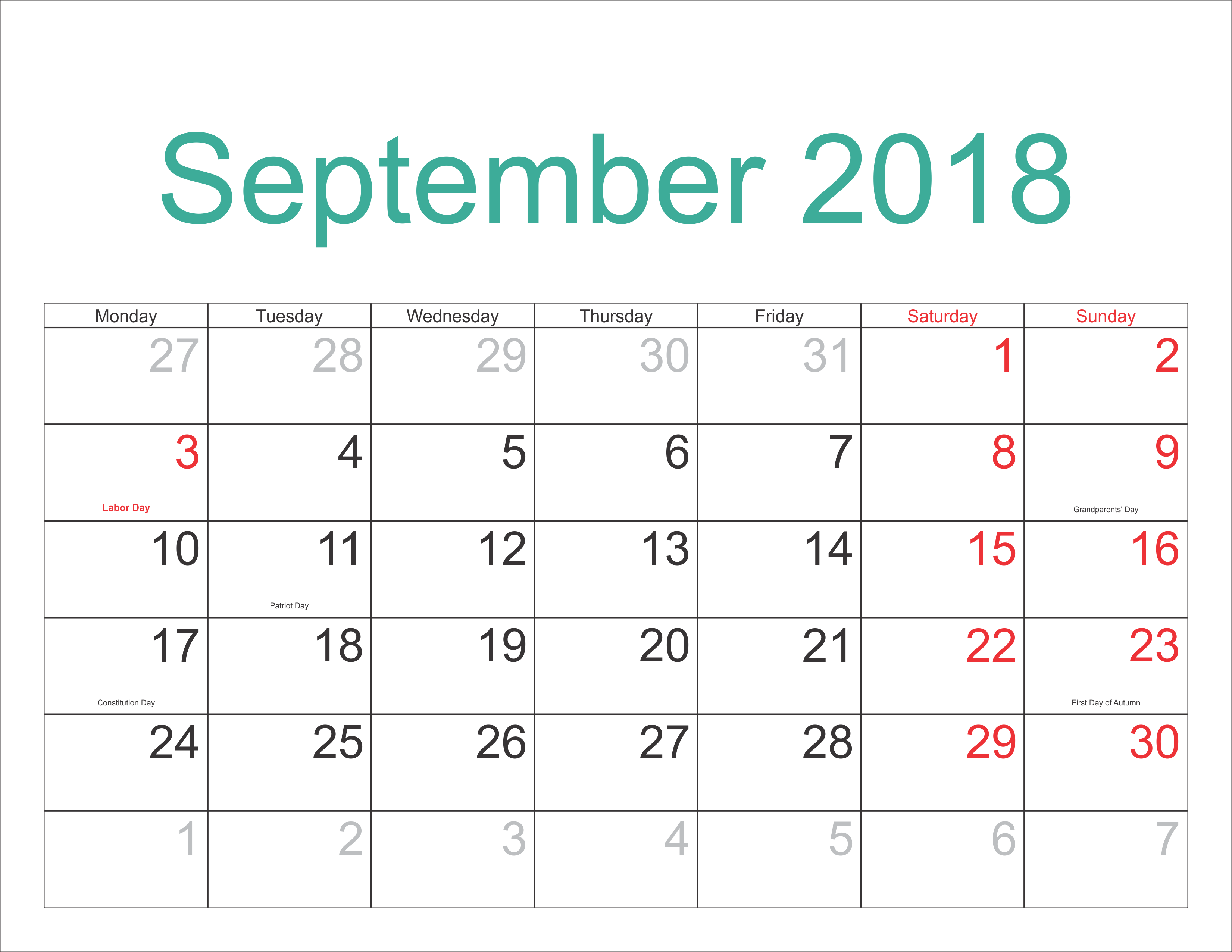 Calendar September 2018 Printable Holidays Full