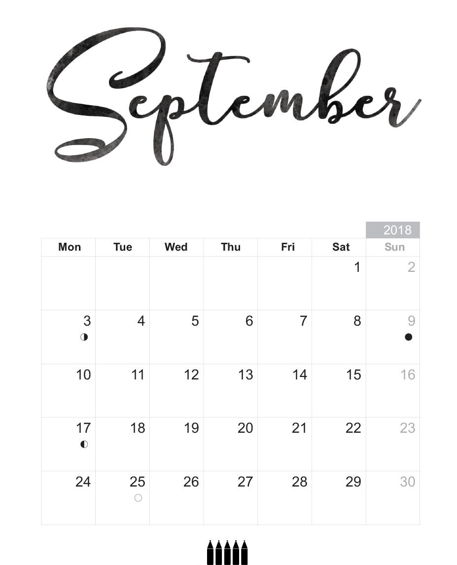 Calendar September 2018 Printable Template