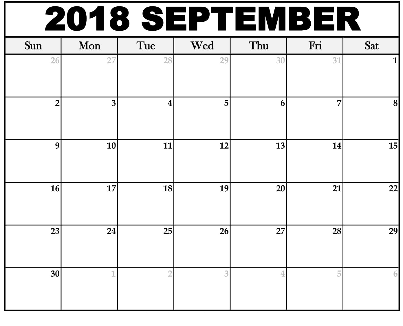 Calendar September 2018 Word Excel Template