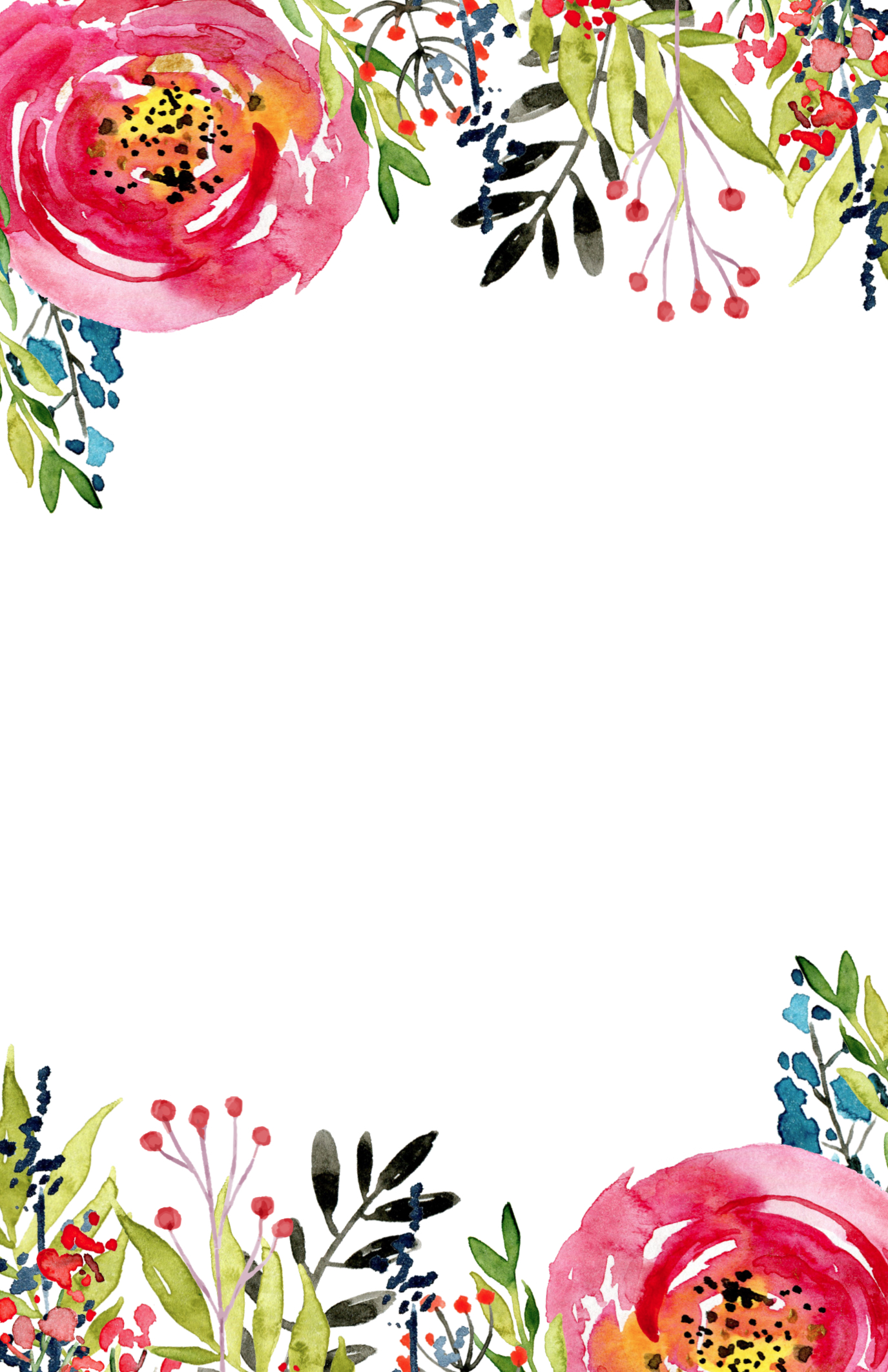 Cocktail Floral Card Invitation Template