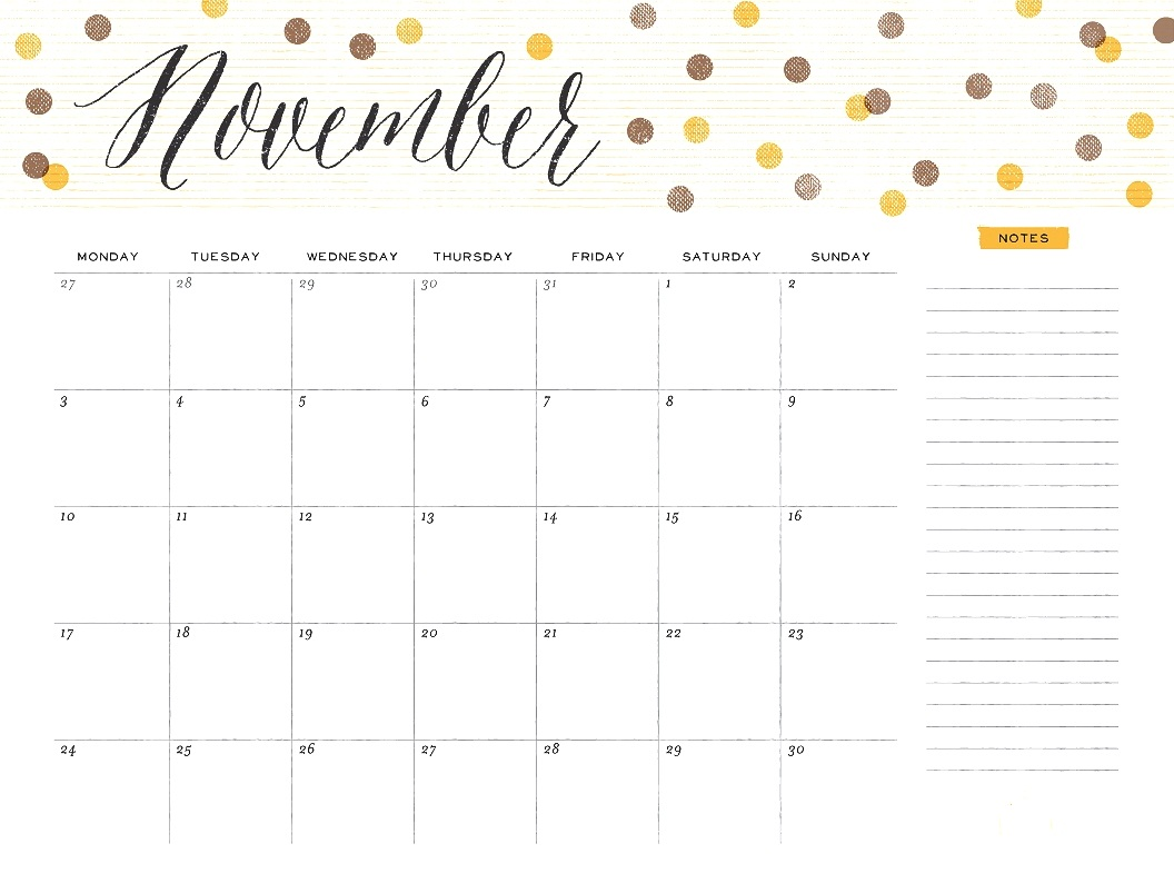 Cute Calendar November 2018 With Notes