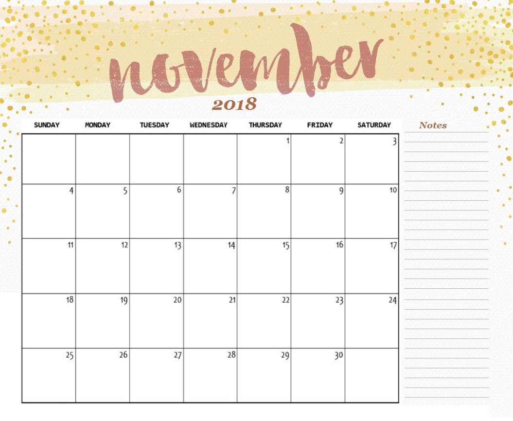 picture relating to Free Printable Calendar November identify Lovely Calendar November 2018 - Down load Absolutely free Printable