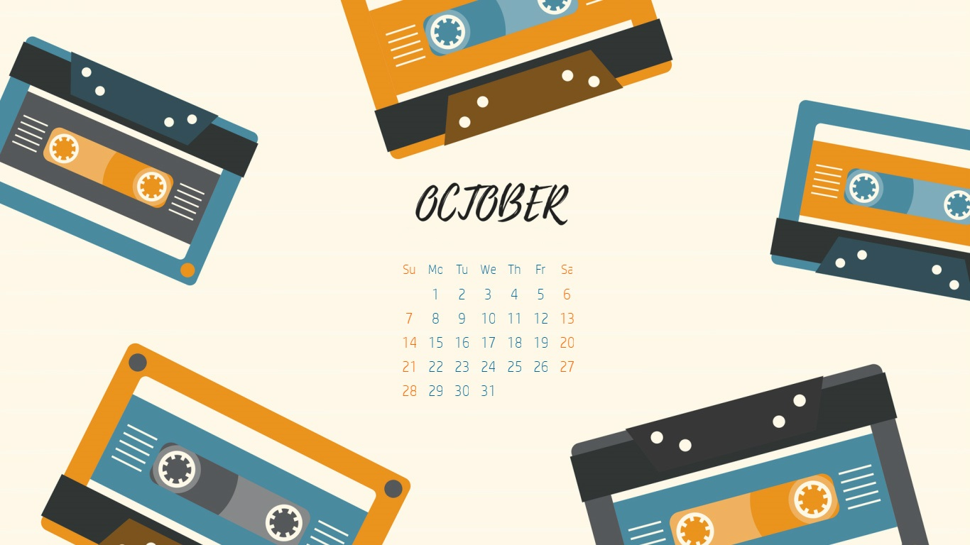 Desktop Calendar for October 2018