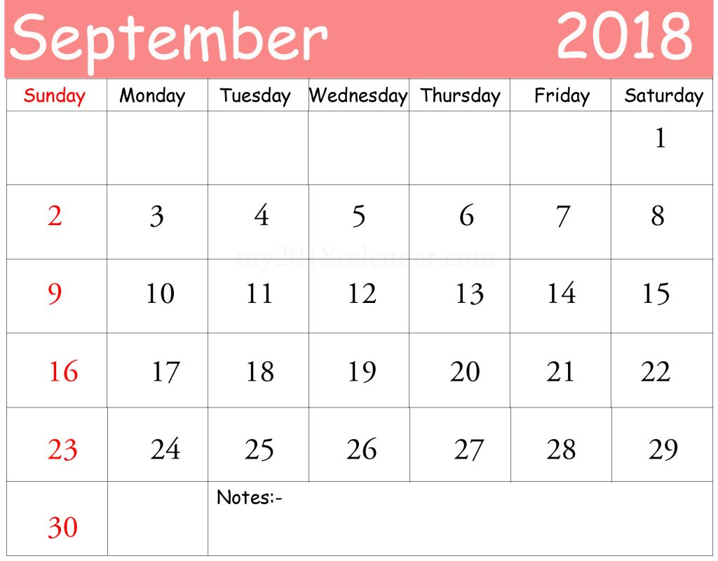 Download Cute September 2018 Calendar Free Word Template