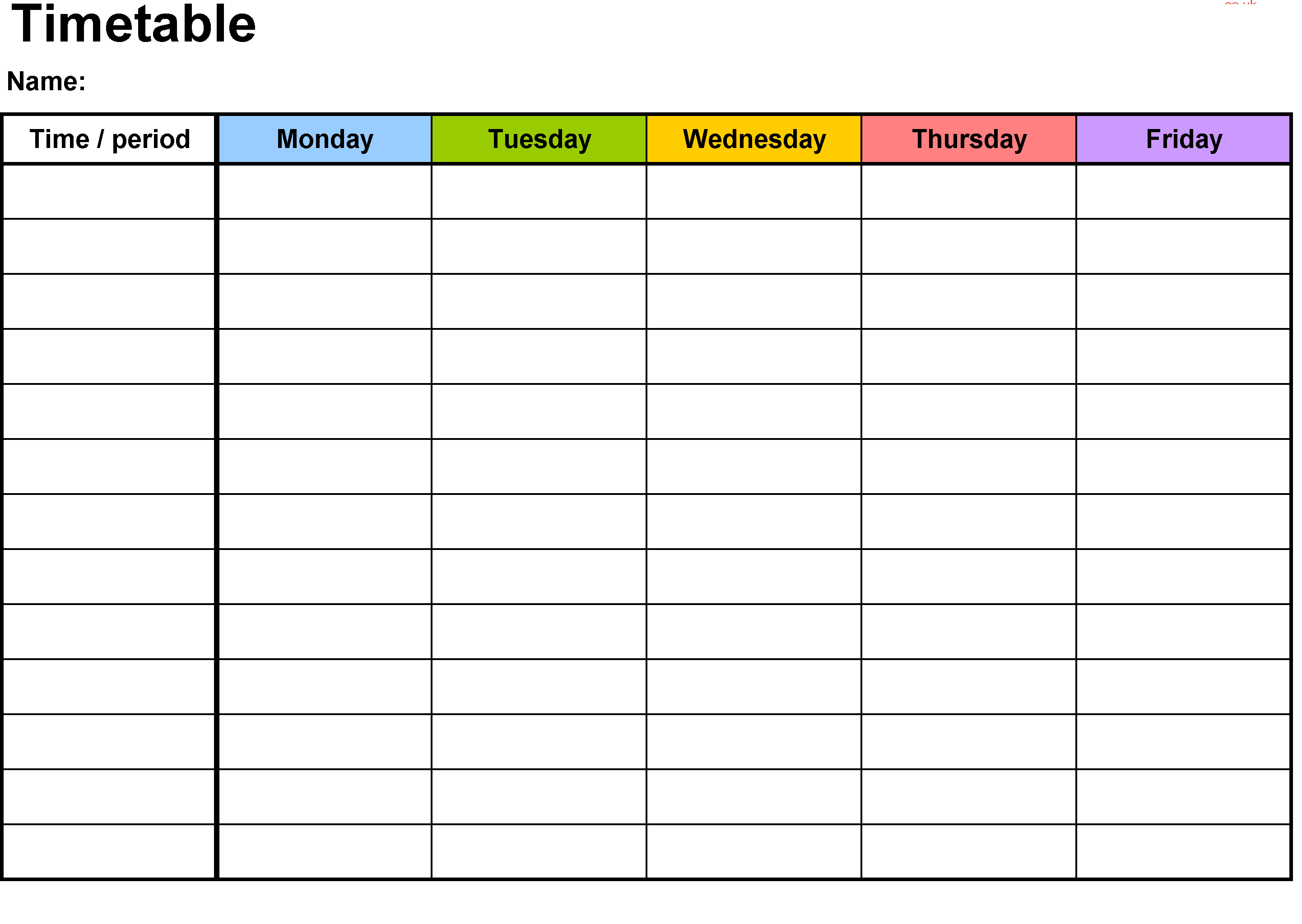 Event Time Table Template Free