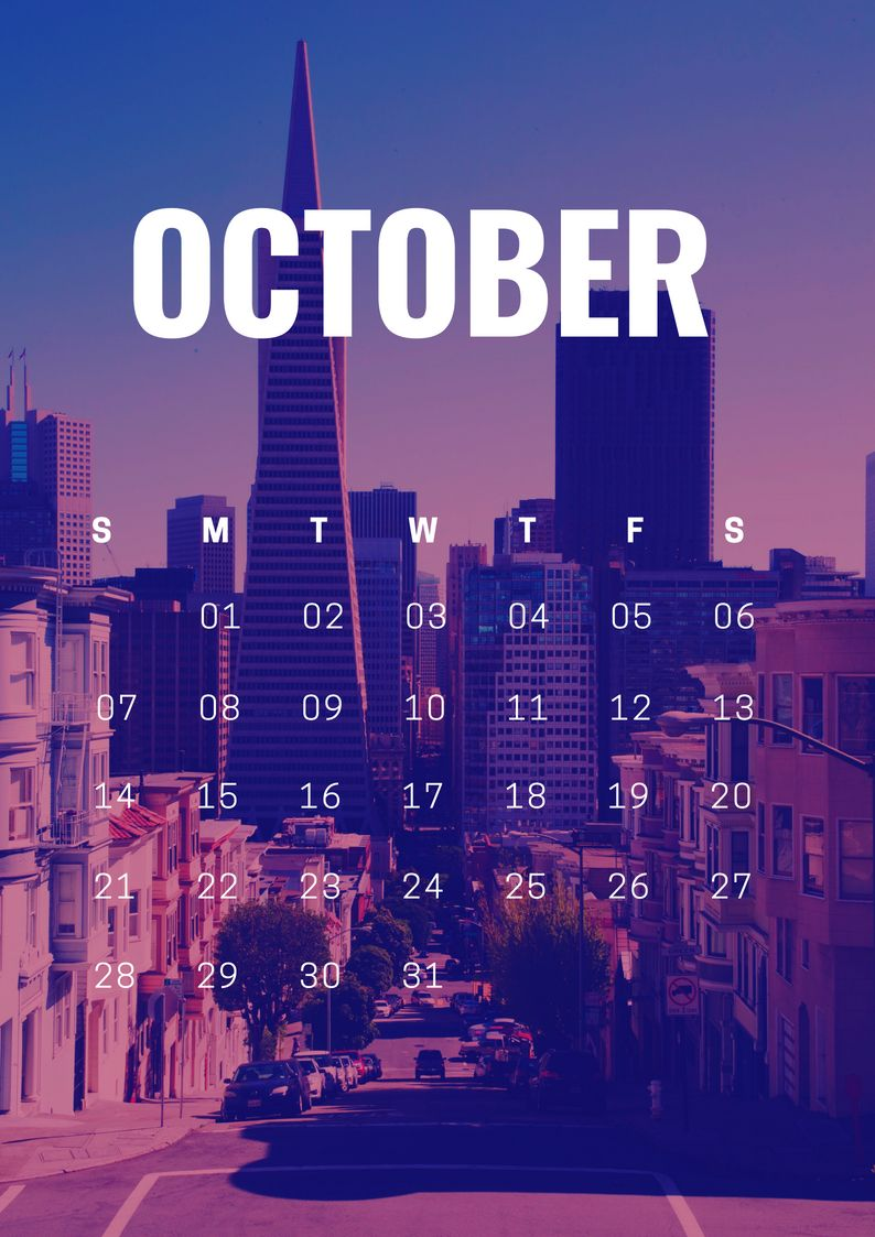 Free October 2018 Calendar Wallpaper