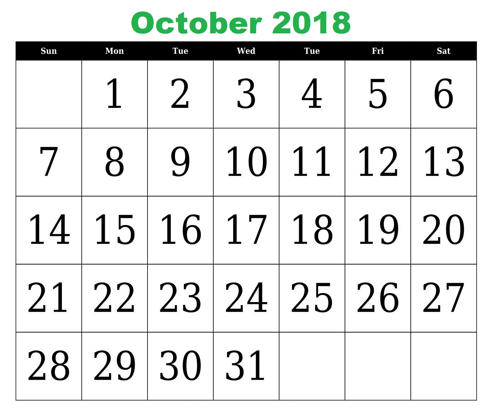 Free Printable October 2018 Calendar With Holidays