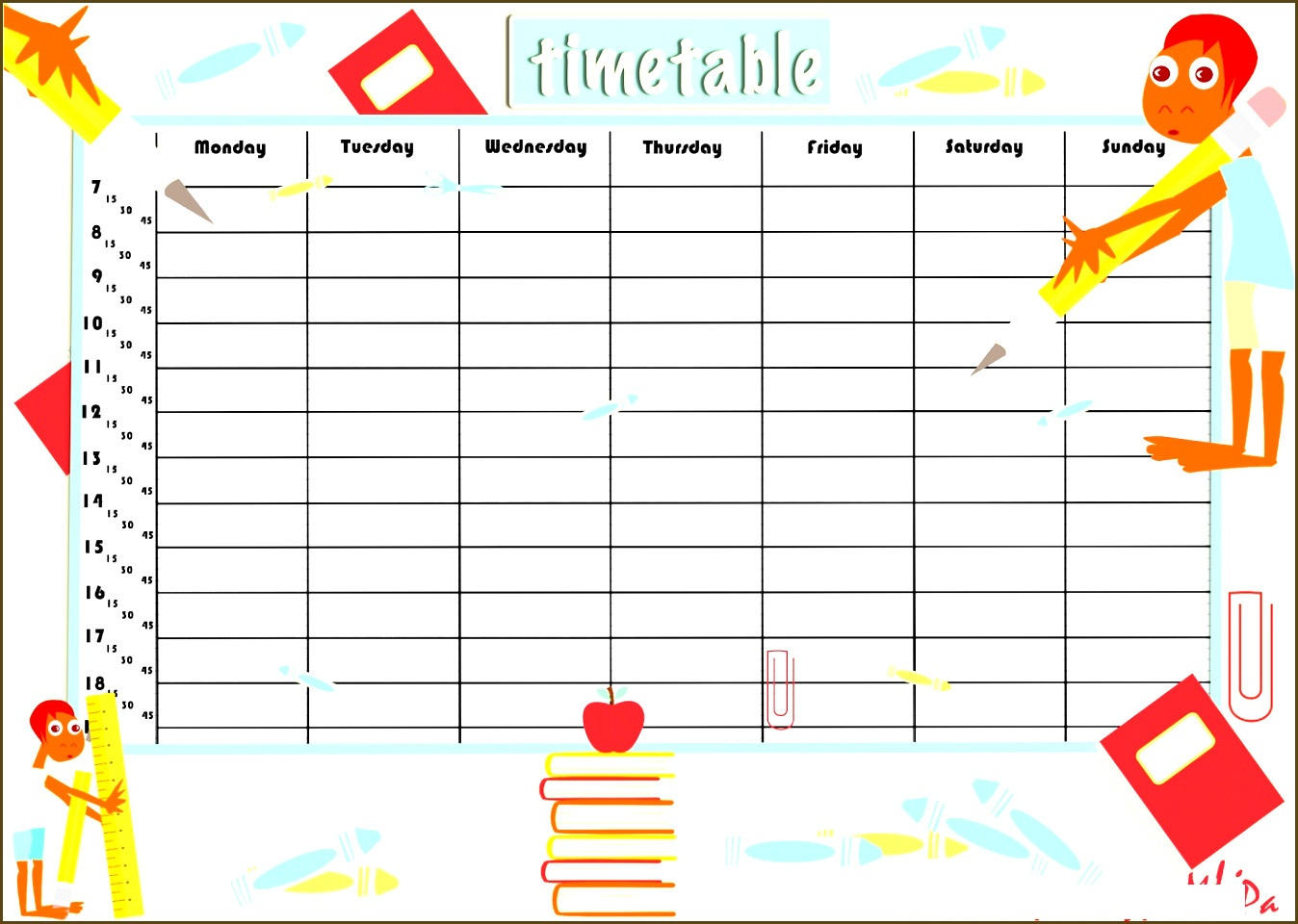 Free Printable Time Table Template