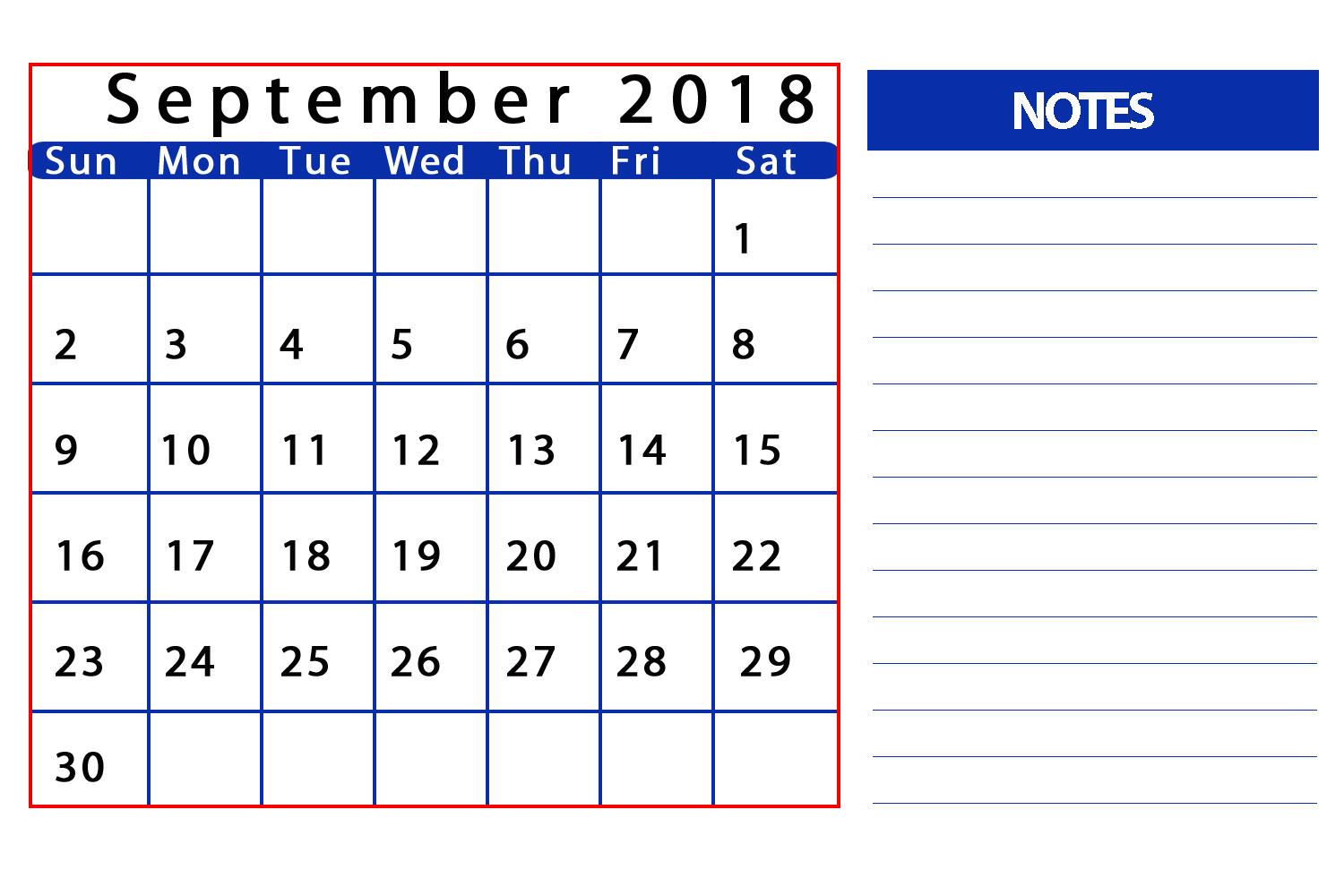 Free September 2018 Calendar With Notes