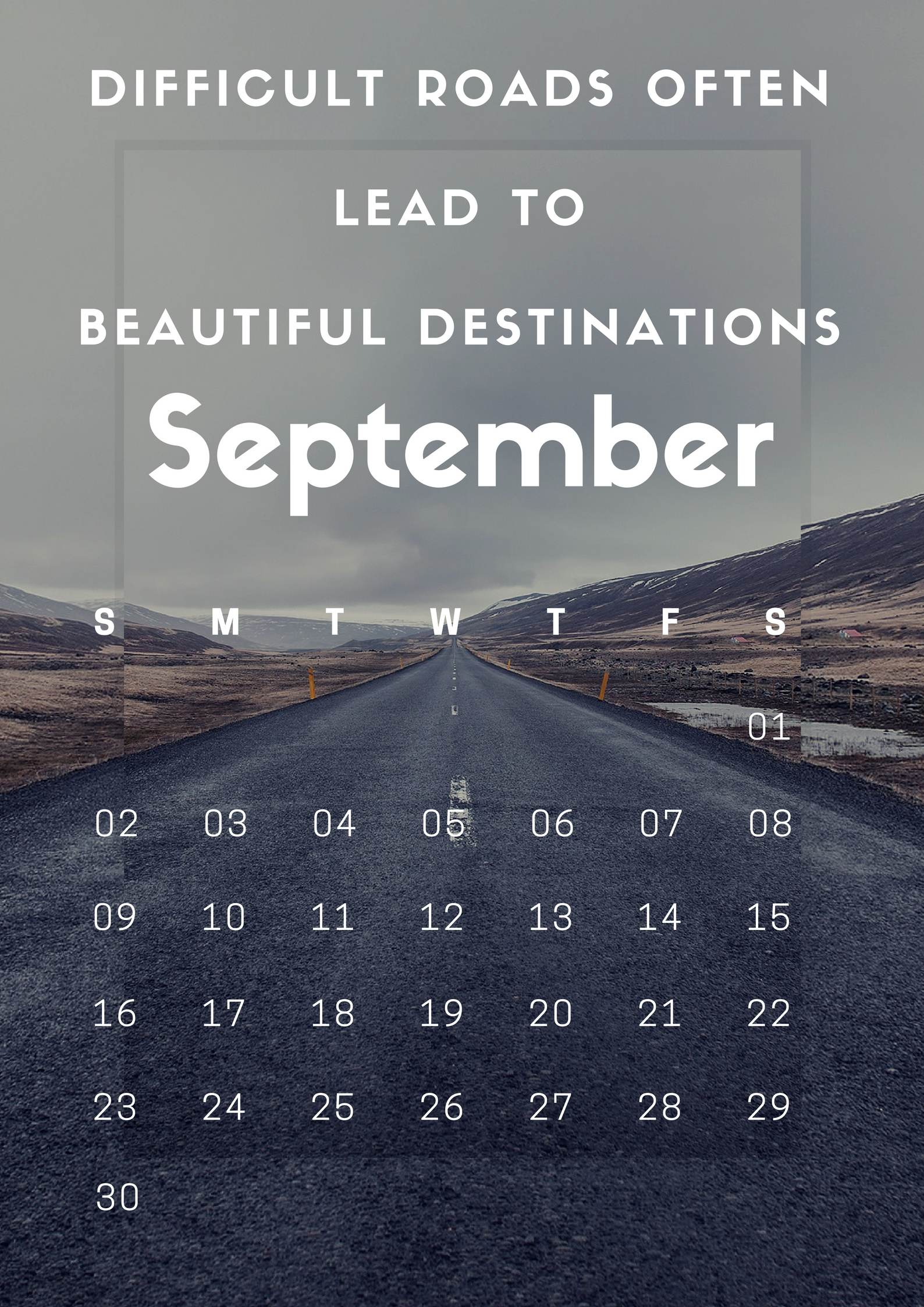 Free September 2018 Motivation Calendar