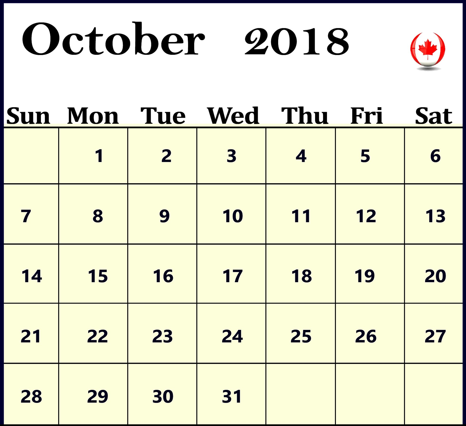 Month of October 2018 Calendar Canada