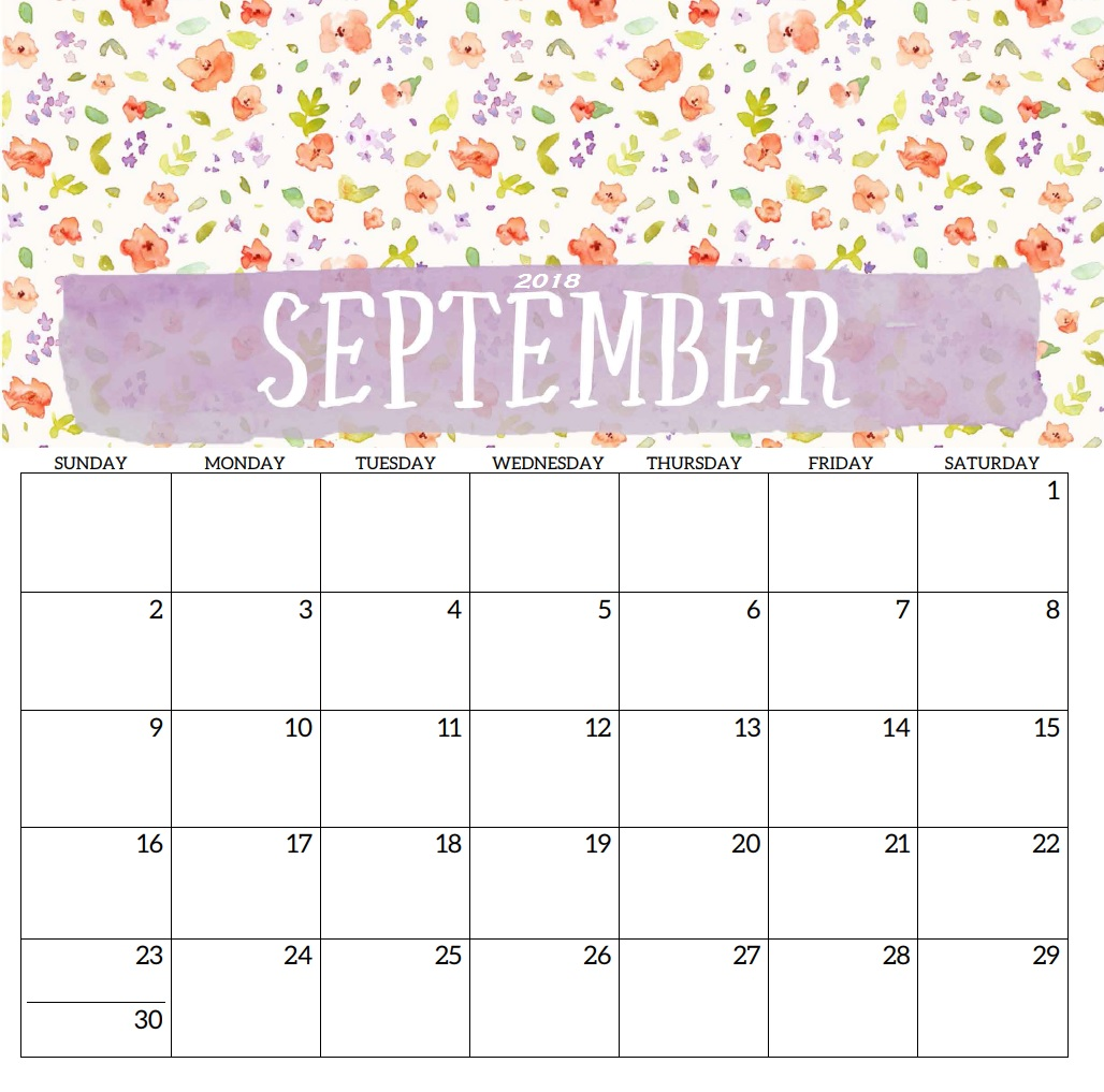 Monthly Printable Calendar September 2018