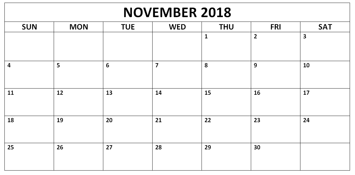 November 2018 Blank Calendar in PDF Word Excel