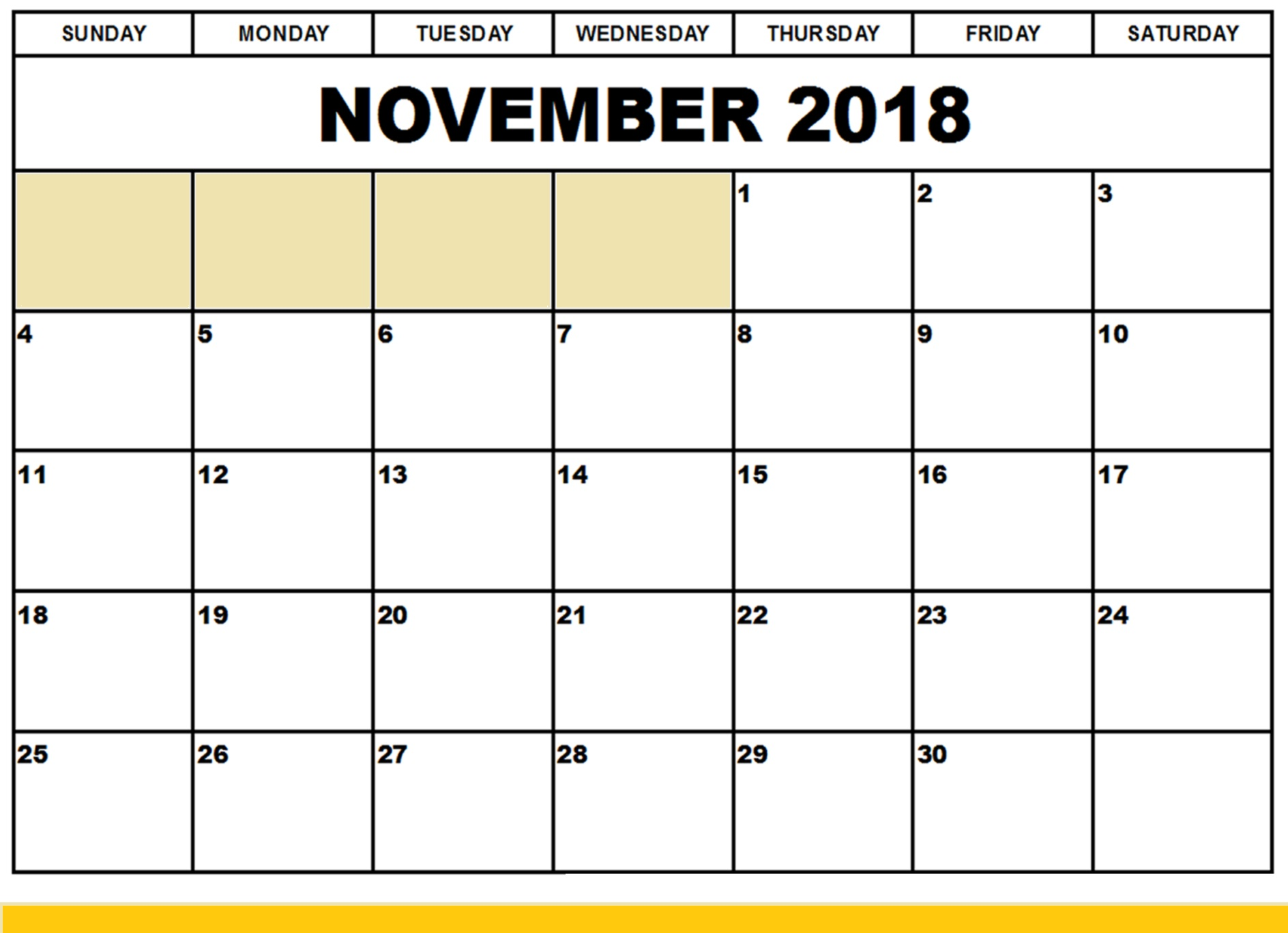 picture relating to Printable Calendar Nov identified as November 2018 Calendar Blank - Obtain No cost Printable