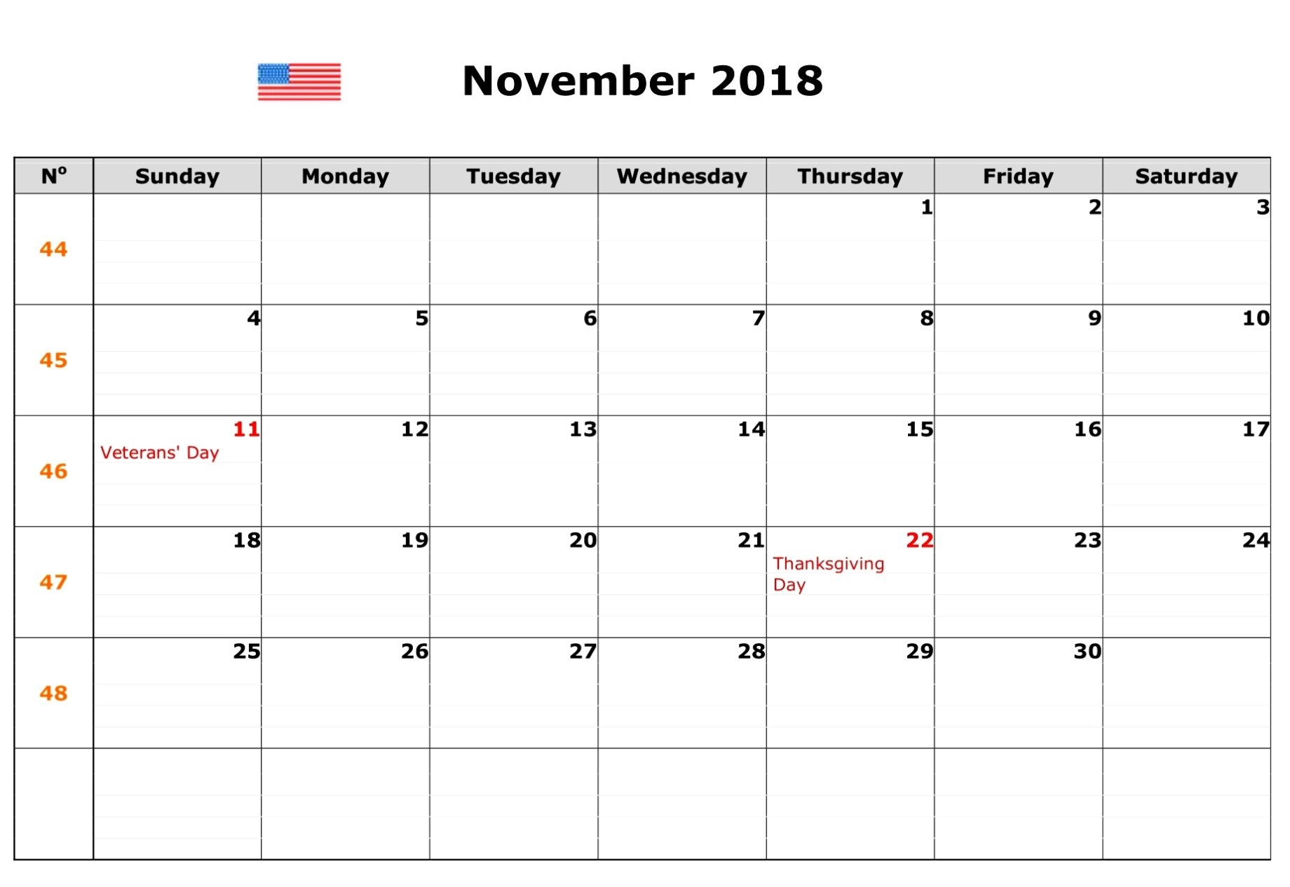 November 2018 Calendar USA Public Holidays