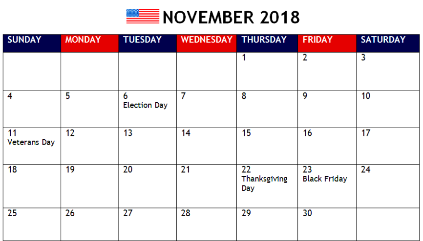 November 2018 Calendar USA With Holidays