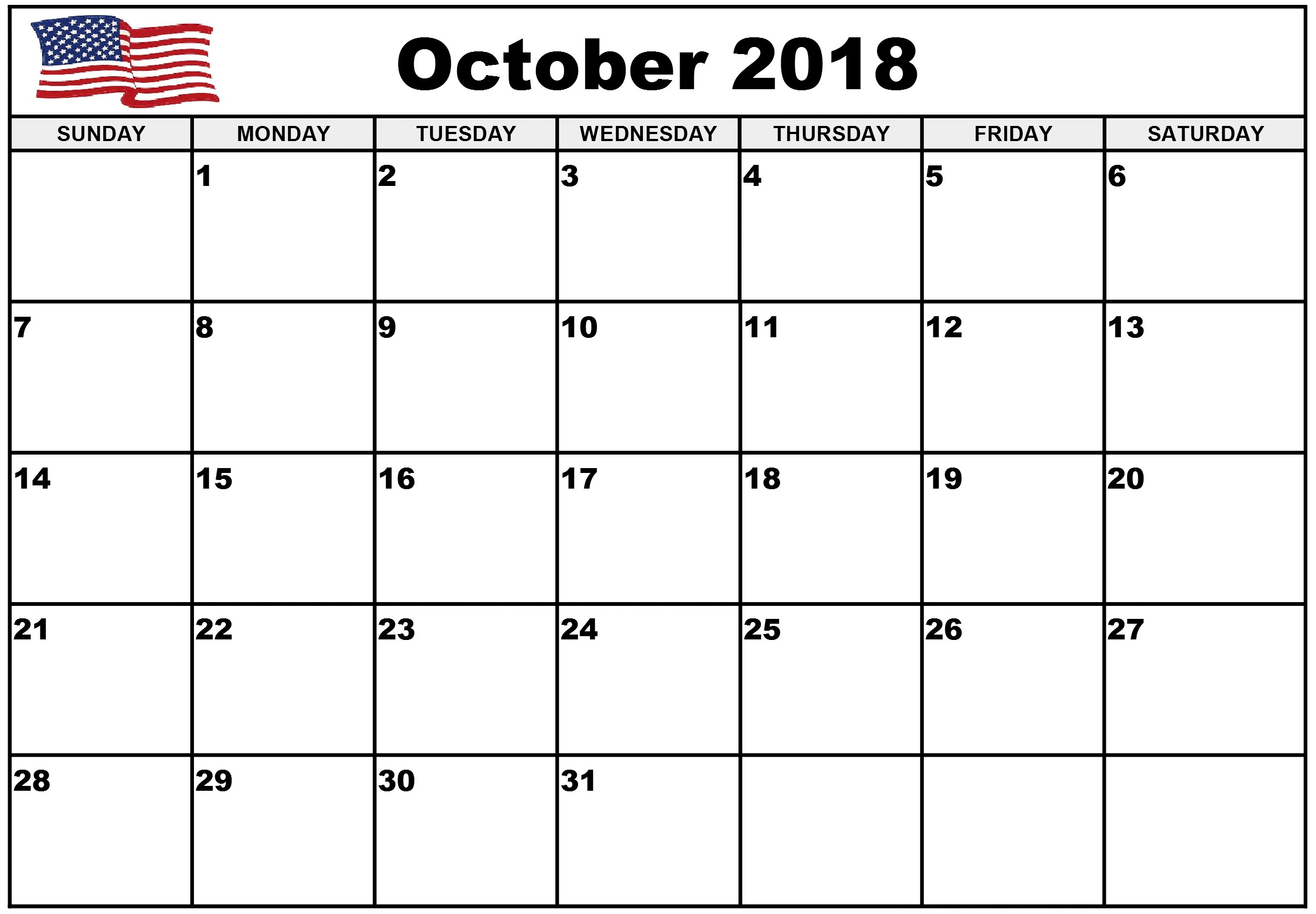 October 2018 Calendar For USA