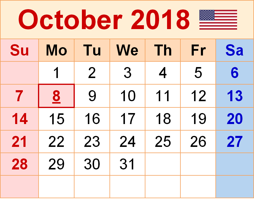 October 2018 Calendar USA Printable
