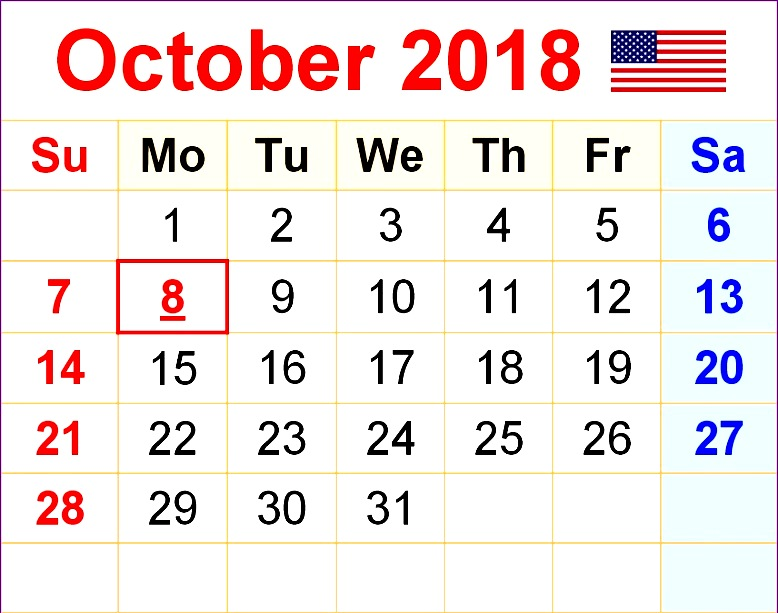 October 2018 Calendar USA With Holidays
