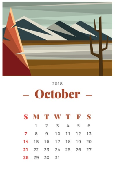October 2018 Calendar Vector Art