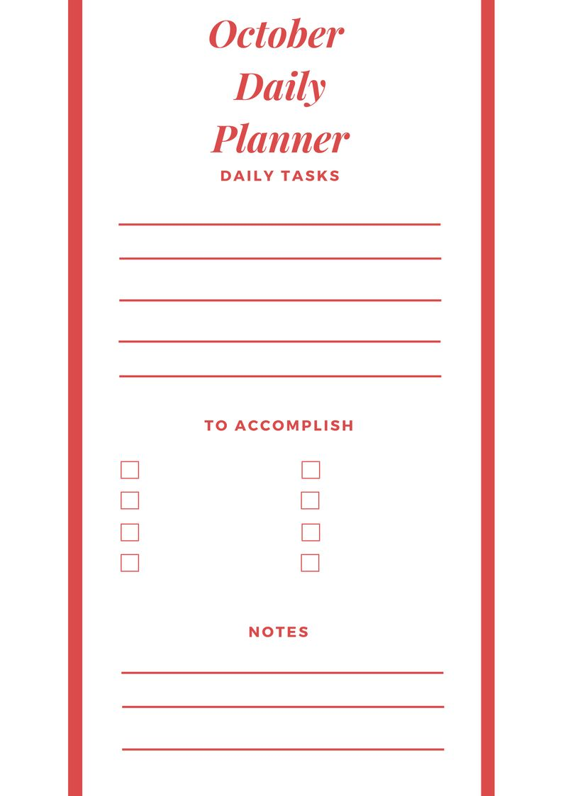 October 2018 Daily Planner