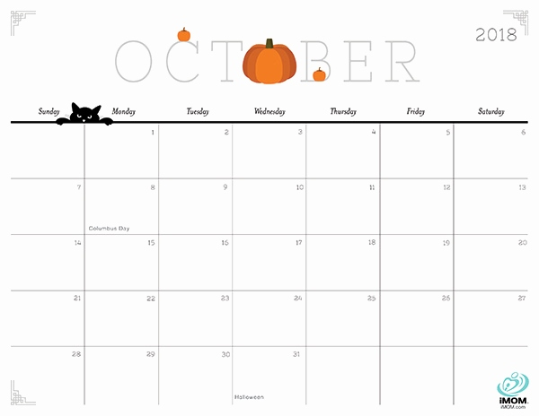 October 2018 Calendar Cute cute and crafty 2018
