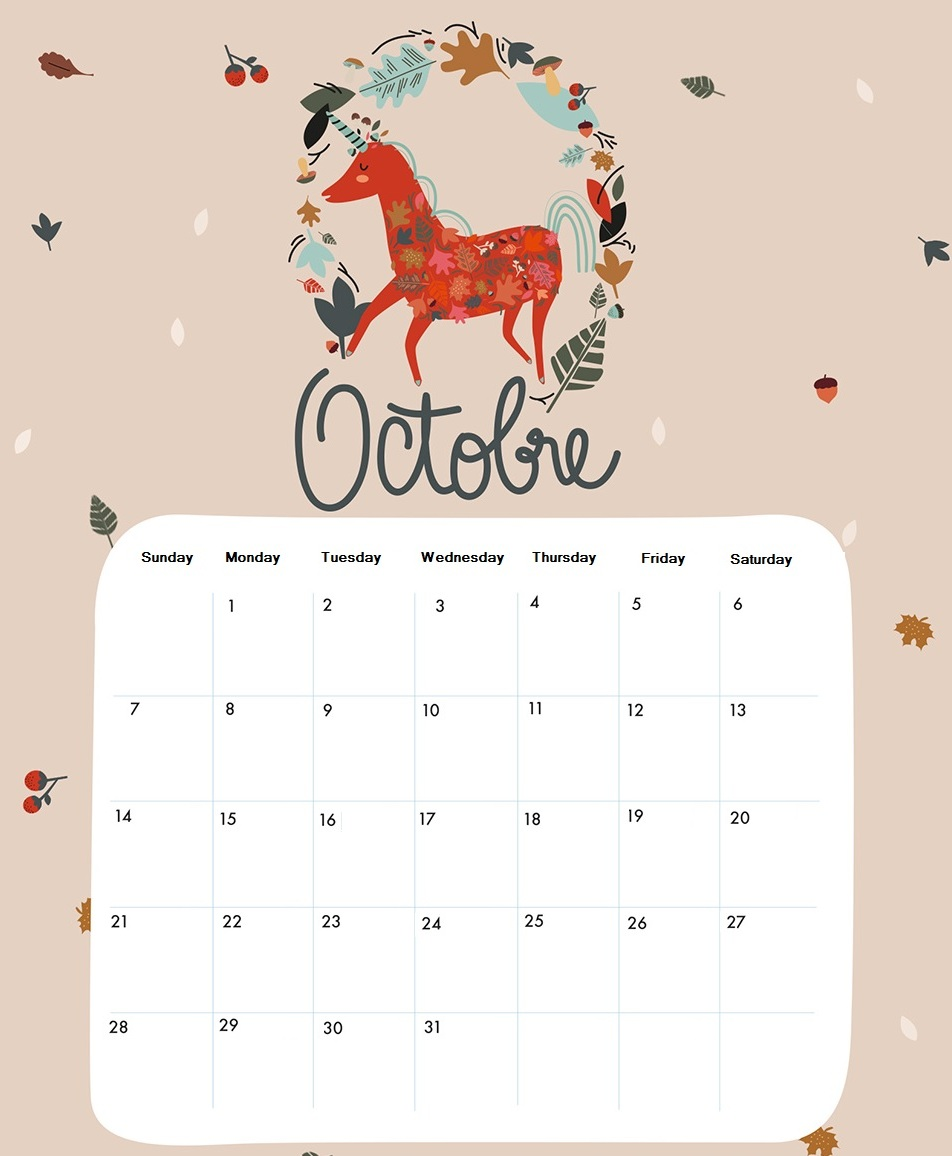 October 2018 Printable Graphic Calendar