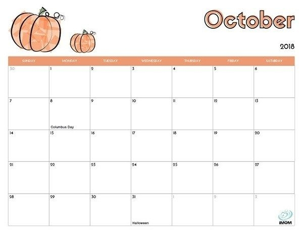 October 2018 Pumpkin Vector Calendar