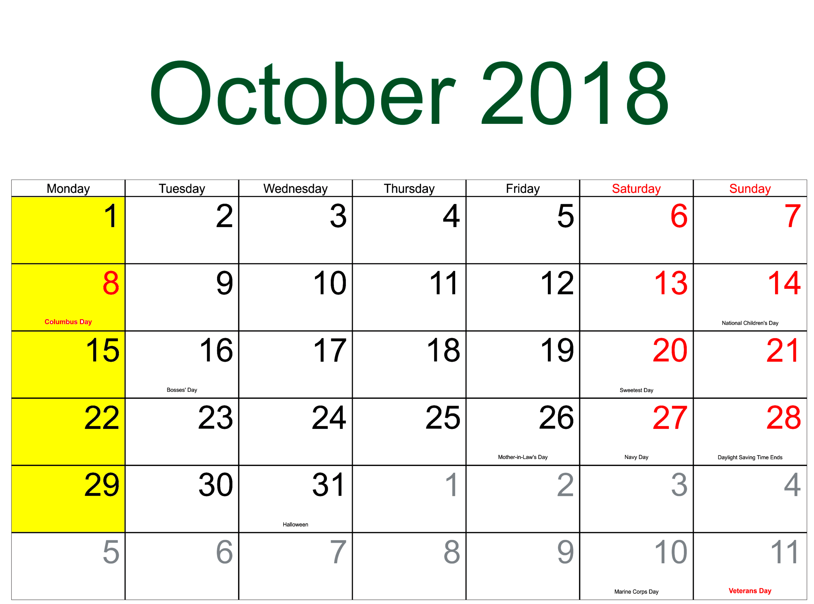 October 2018 USA Holidays Calendar