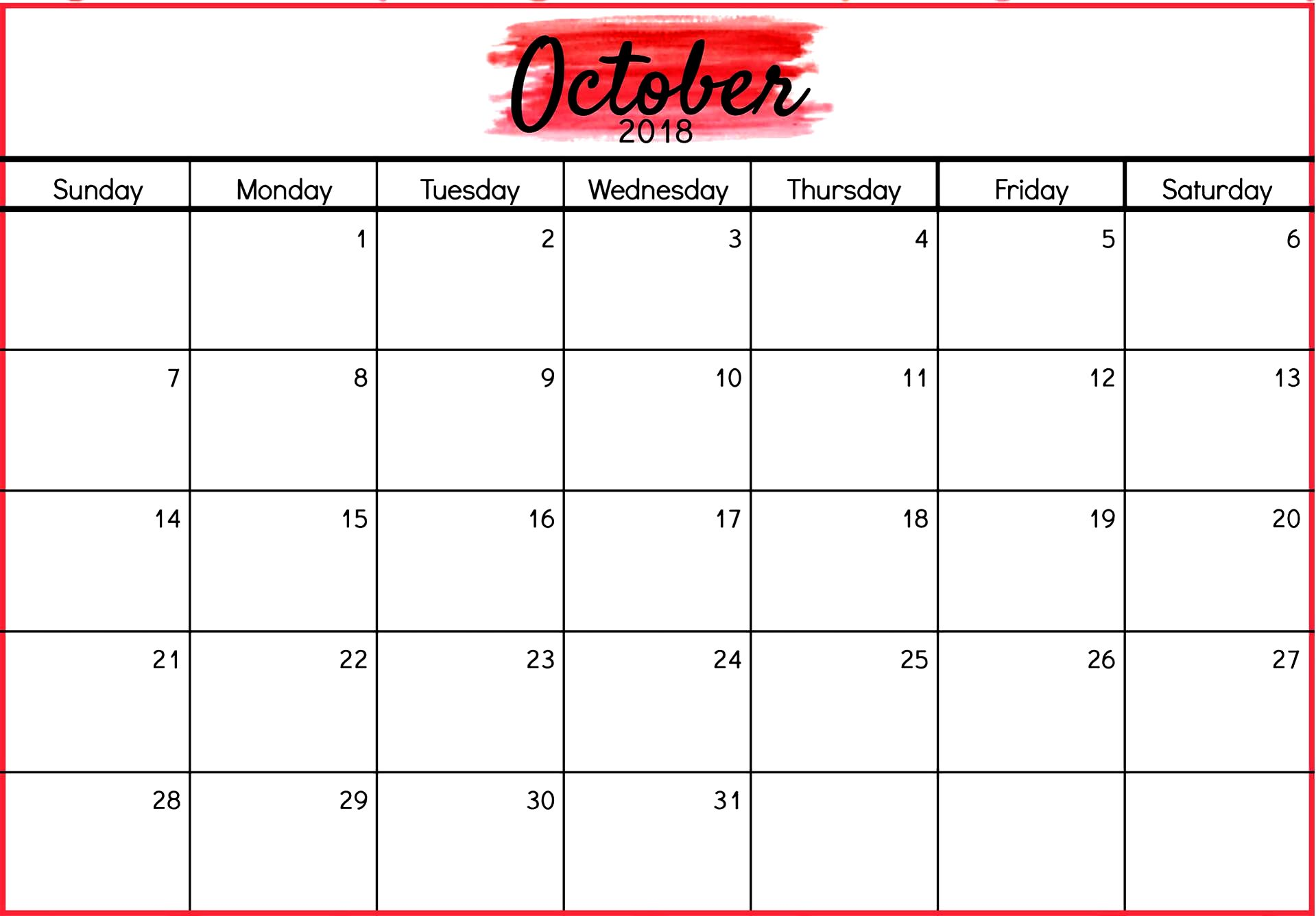 October 2018 Word Calendar Letter Format Templates