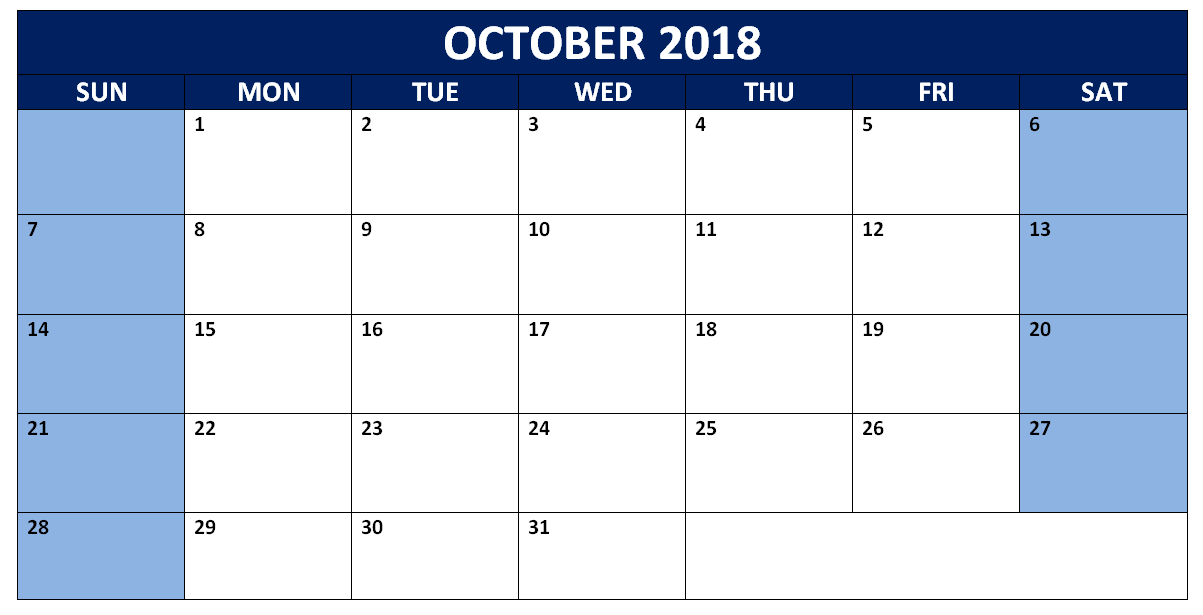 October 2018 Word Calendar Printable