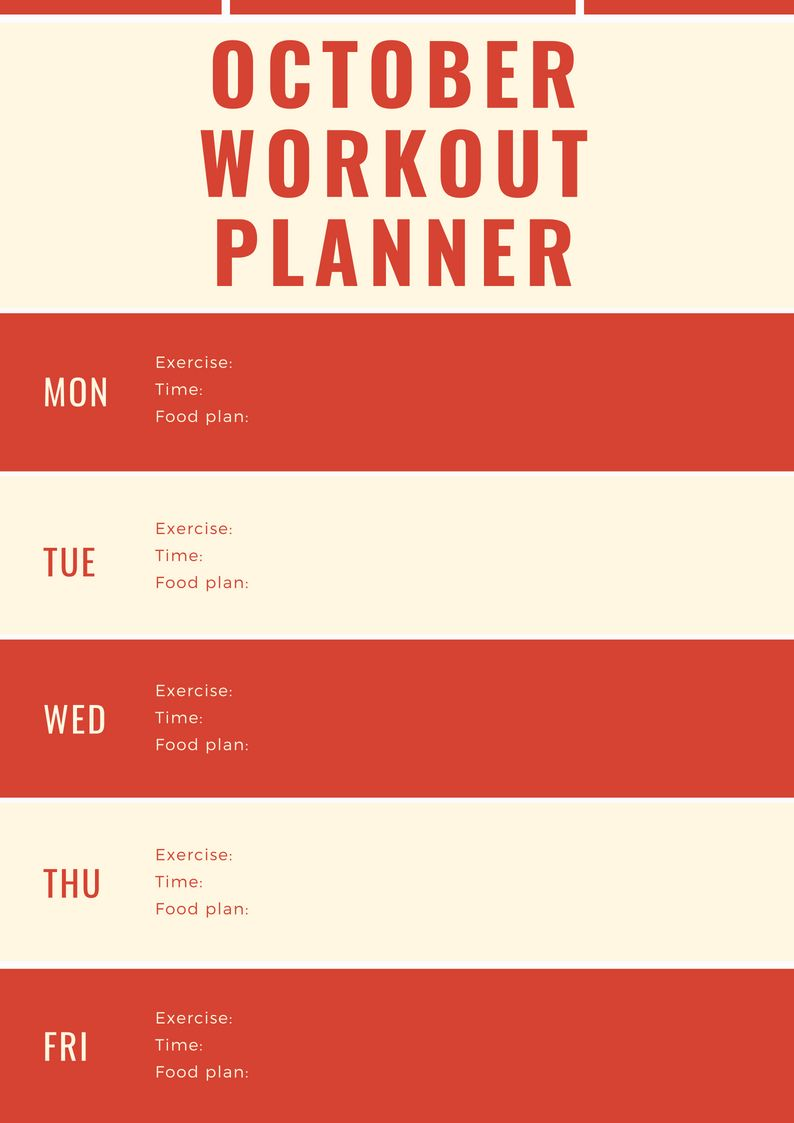 October 2018 Workout Planner