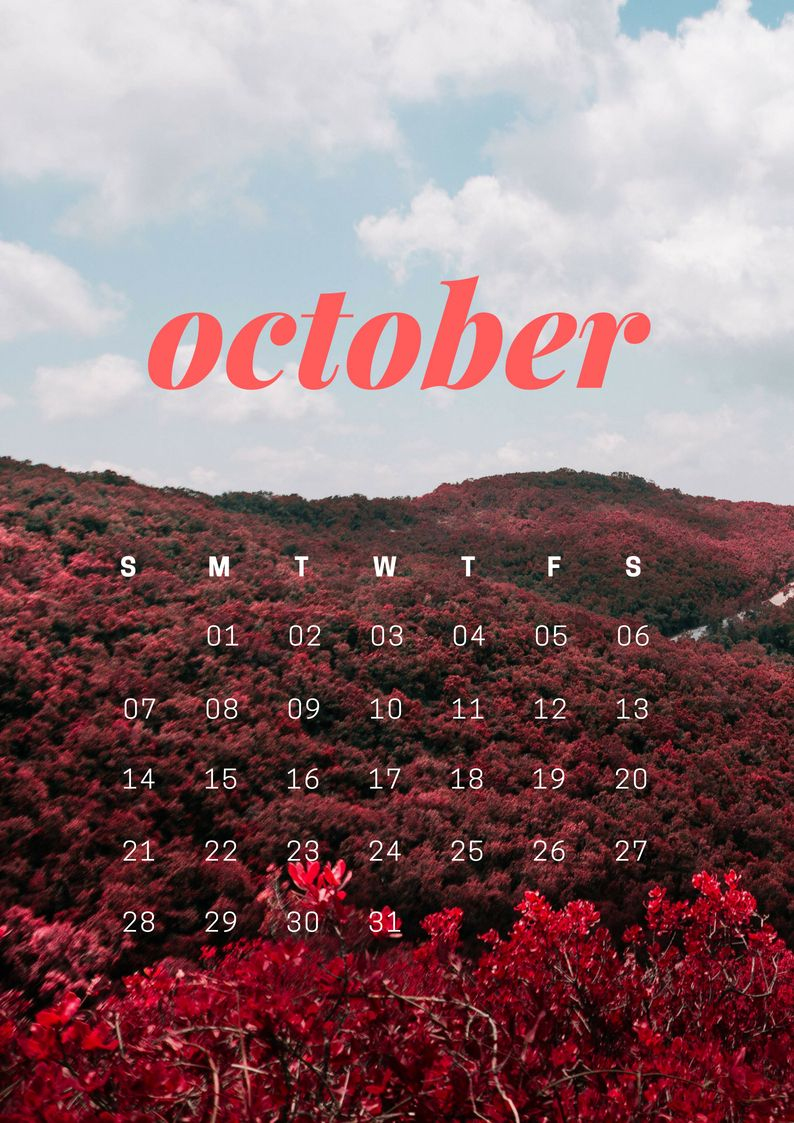 October 2018 iPhone Calendar HD Wallpaper