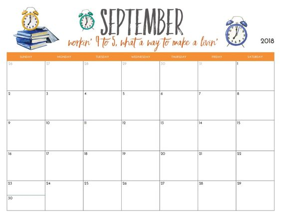 Printable 2018 September Calendar Desk