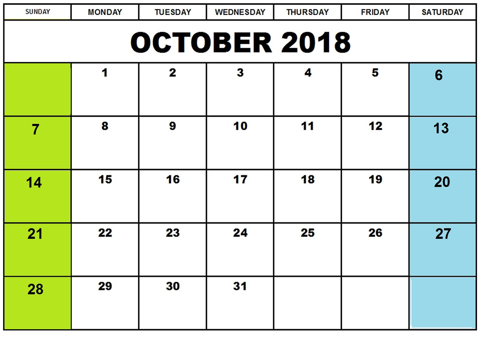 Printable Calendar October 2018 Academic Template