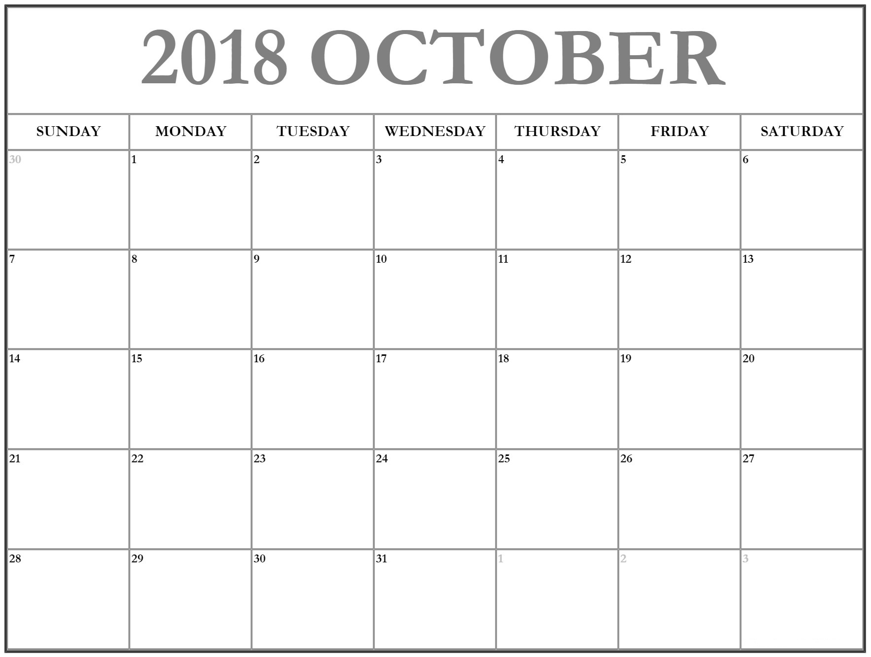 Printable Calendar October 2018 Decorative