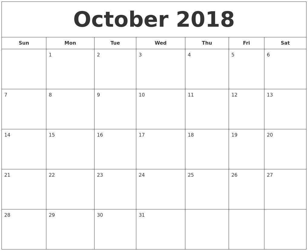 Printable Calendar October 2018 Desk
